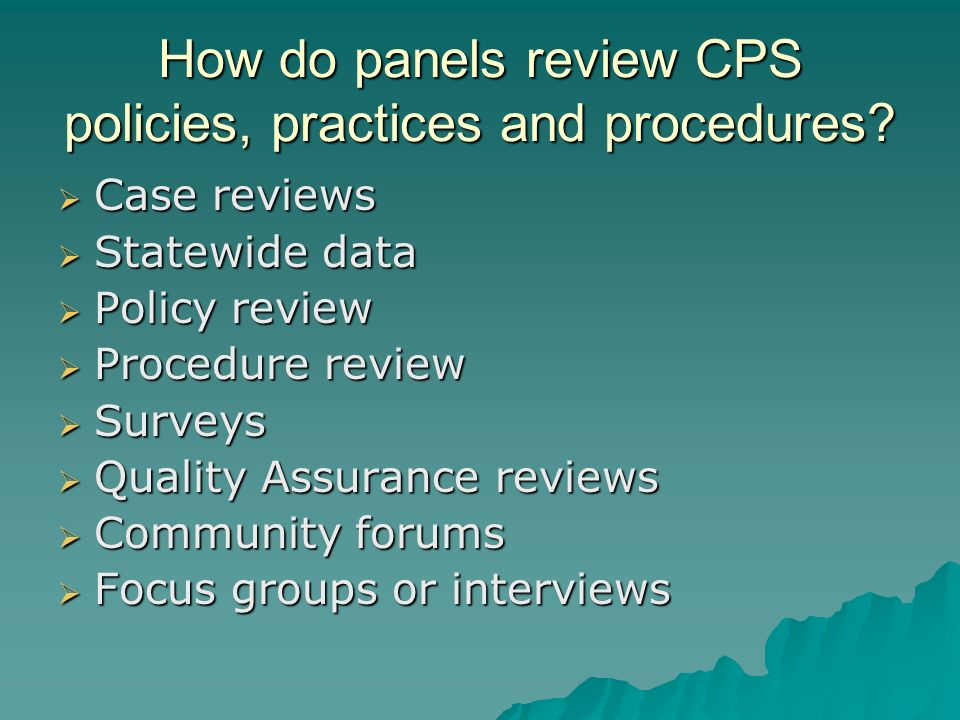 How do panels review CPS policies, practices and procedures? Case reviews Case reviews Statewide data Statewide data Policy review Policy review Proce
