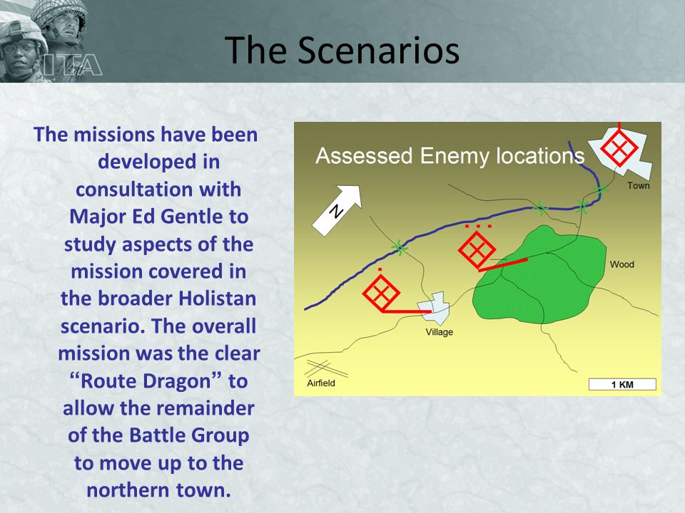 The Scenarios The missions have been developed in consultation with Major Ed Gentle to study aspects of the mission covered in the broader Holistan scenario.