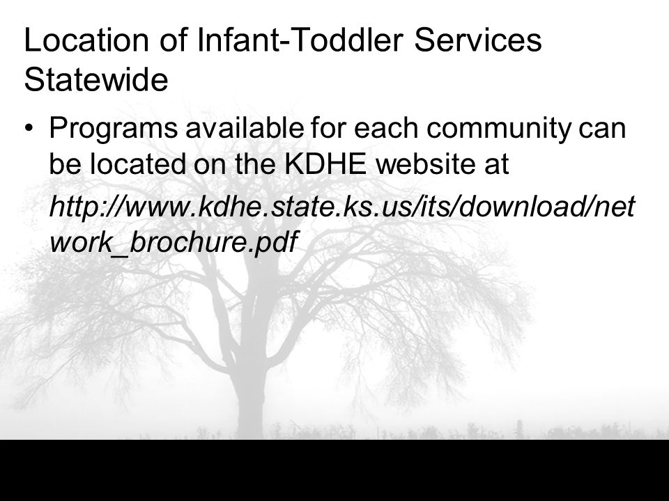 Location of Infant-Toddler Services Statewide Programs available for each community can be located on the KDHE website at http://www.kdhe.state.ks.us/its/download/net work_brochure.pdf