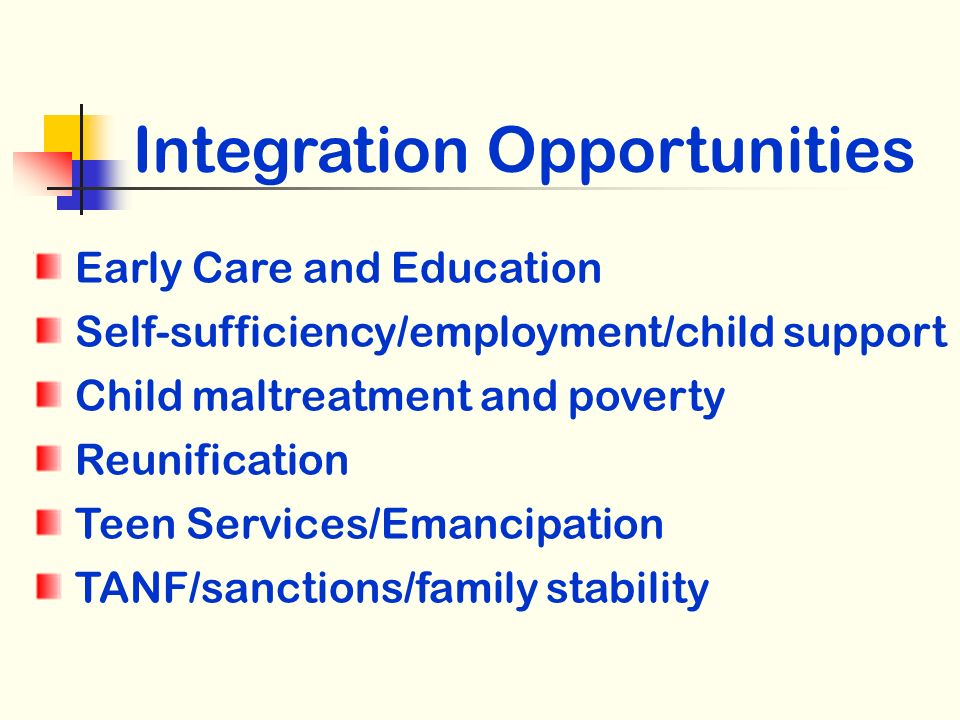 Integration Opportunities Early Care and Education Self-sufficiency/employment/child support Child maltreatment and poverty Reunification Teen Services/Emancipation TANF/sanctions/family stability