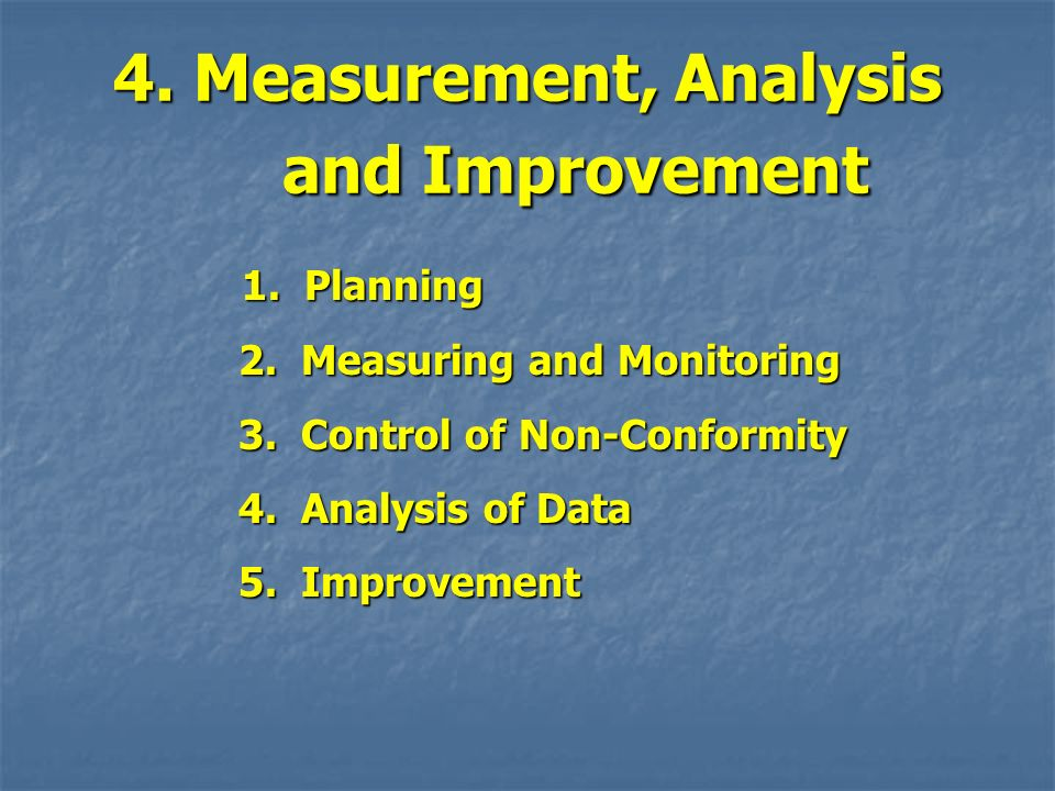4. Measurement, Analysis and Improvement 1. Planning 1. Planning 2. Measuring and Monitoring 2. Measuring and Monitoring 3. Control of Non-Conformity