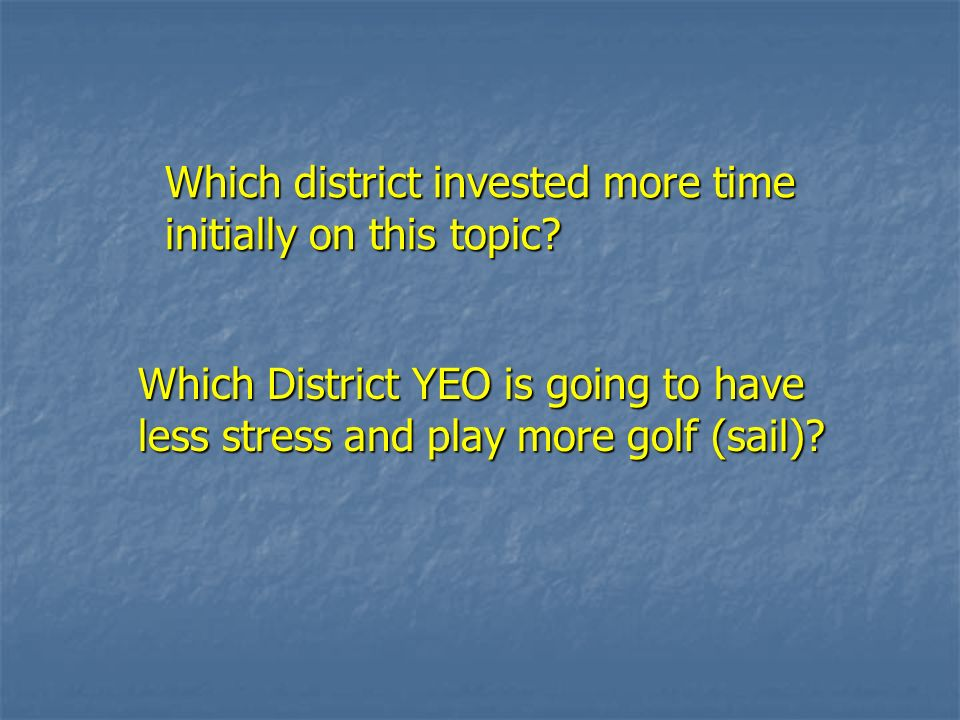 Which district invested more time initially on this topic? Which district invested more time initially on this topic? Which District YEO is going to h