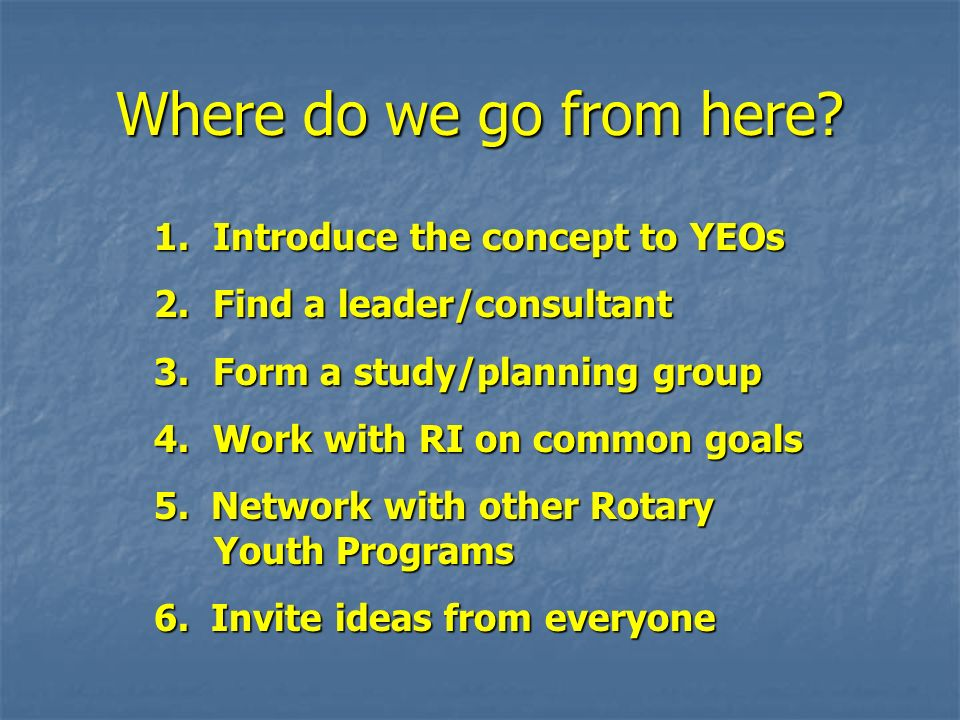 Where do we go from here? 1. Introduce the concept to YEOs 2. Find a leader/consultant 3. Form a study/planning group 4. Work with RI on common goals