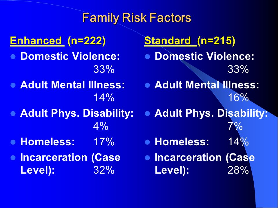 Family Risk Factors Enhanced (n=222) Domestic Violence: 33% Adult Mental Illness: 14% Adult Phys.