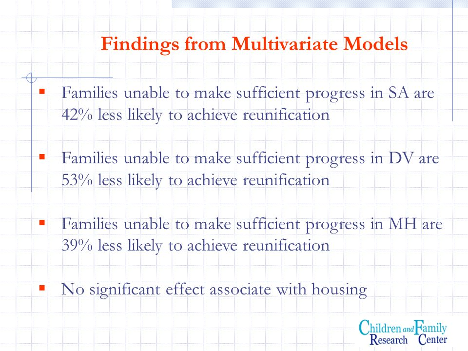 Findings from Multivariate Models Families unable to make sufficient progress in SA are 42% less likely to achieve reunification Families unable to ma
