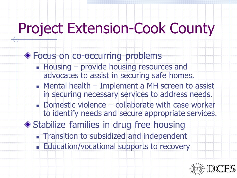 Project Extension-Cook County Focus on co-occurring problems Housing – provide housing resources and advocates to assist in securing safe homes. Menta