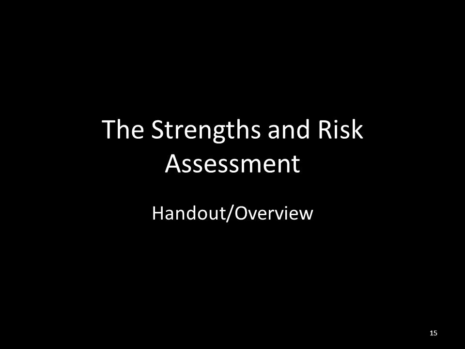 15 The Strengths and Risk Assessment Handout/Overview