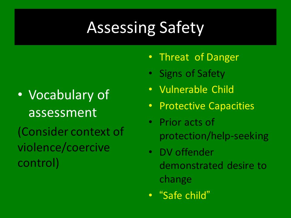 Assessing Safety Vocabulary of assessment (Consider context of violence/coercive control) Threat of Danger Signs of Safety Vulnerable Child Protective