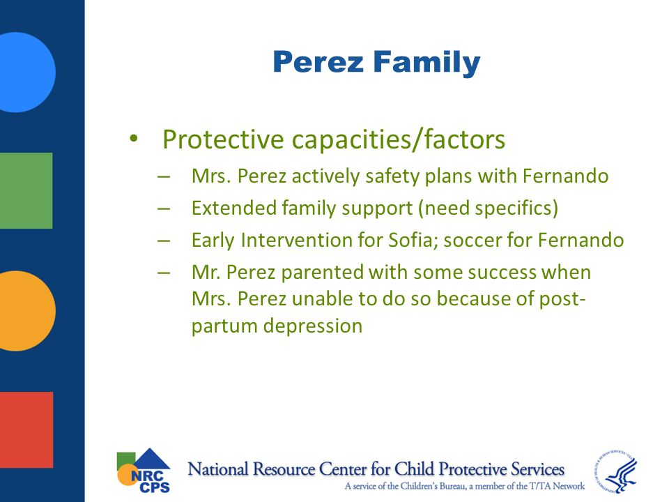 Perez Family Protective capacities/factors – Mrs. Perez actively safety plans with Fernando – Extended family support (need specifics) – Early Interve