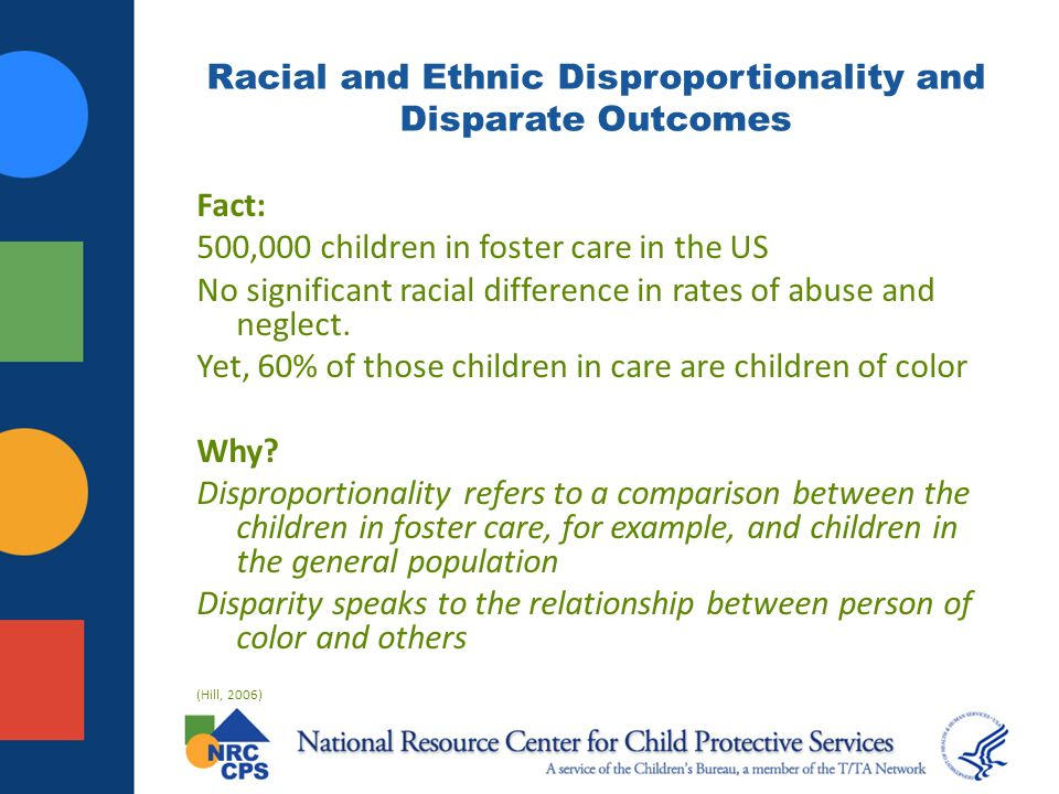 Racial and Ethnic Disproportionality and Disparate Outcomes Fact: 500,000 children in foster care in the US No significant racial difference in rates of abuse and neglect.