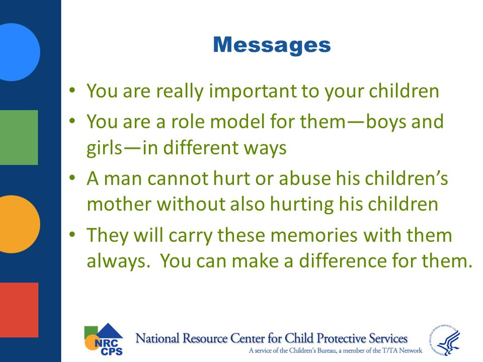 Messages You are really important to your children You are a role model for themboys and girlsin different ways A man cannot hurt or abuse his childrens mother without also hurting his children They will carry these memories with them always.