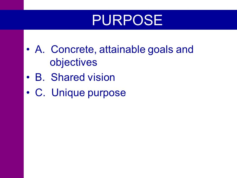 PURPOSE A. Concrete, attainable goals and objectives B. Shared vision C. Unique purpose