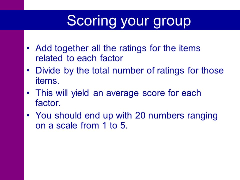 Scoring your group Add together all the ratings for the items related to each factor Divide by the total number of ratings for those items.