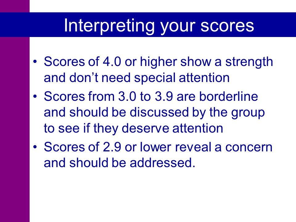 Interpreting your scores Scores of 4.0 or higher show a strength and dont need special attention Scores from 3.0 to 3.9 are borderline and should be discussed by the group to see if they deserve attention Scores of 2.9 or lower reveal a concern and should be addressed.