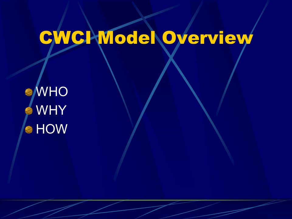 CWCI Model Overview WHO WHY HOW
