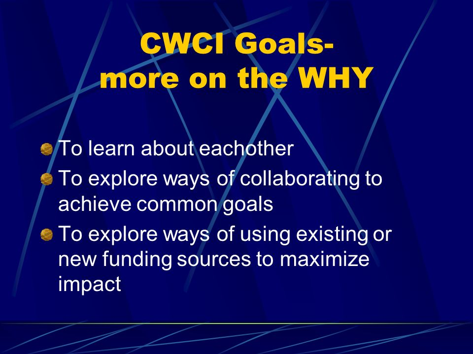 CWCI Goals- more on the WHY To learn about eachother To explore ways of collaborating to achieve common goals To explore ways of using existing or new funding sources to maximize impact