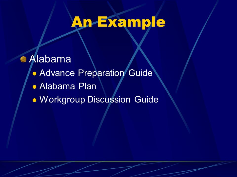 An Example Alabama Advance Preparation Guide Alabama Plan Workgroup Discussion Guide
