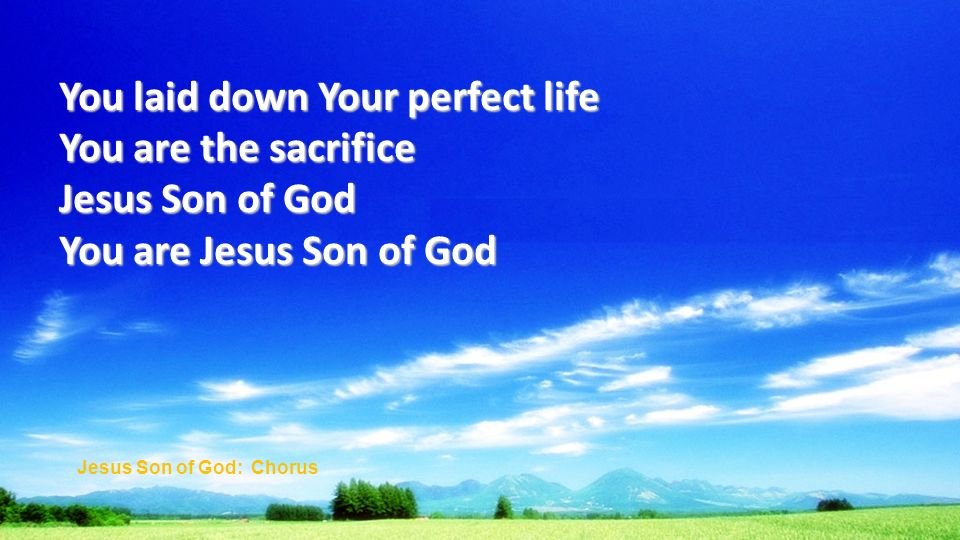 You laid down Your perfect life You are the sacrifice Jesus Son of God You are Jesus Son of God Jesus Son of God: Chorus