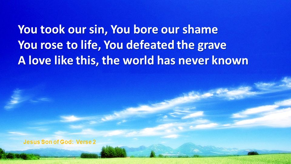 You took our sin, You bore our shame You rose to life, You defeated the grave A love like this, the world has never known Jesus Son of God: Verse 2