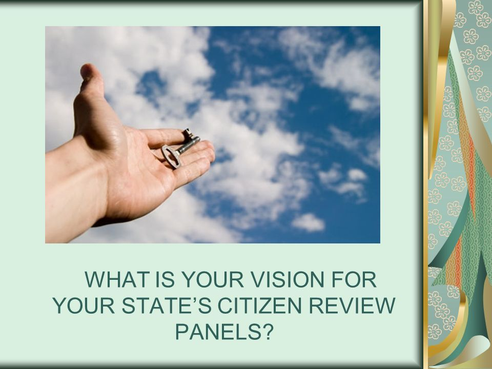 WHAT IS YOUR VISION FOR YOUR STATES CITIZEN REVIEW PANELS?