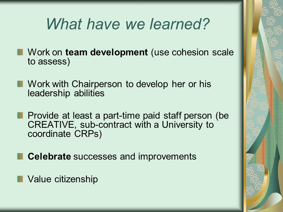 What have we learned? Work on team development (use cohesion scale to assess) Work with Chairperson to develop her or his leadership abilities Provide