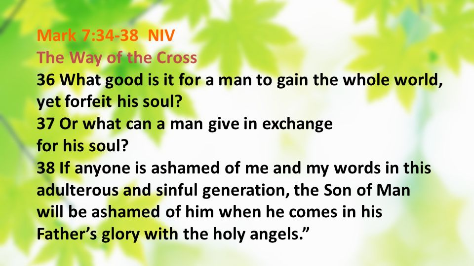 Mark 7:34-38 NIV The Way of the Cross 36 What good is it for a man to gain the whole world, yet forfeit his soul? 37 Or what can a man give in exchang