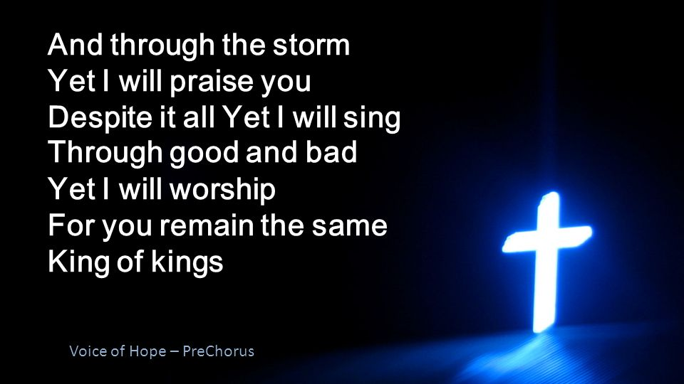 And through the storm Yet I will praise you Despite it all Yet I will sing Through good and bad Yet I will worship For you remain the same King of kin