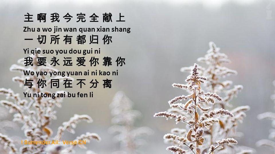 Zhu a wo jin wan quan xian shang Yi qie suo you dou gui ni Wo yao yong yuan ai ni kao ni Yu ni tong zai bu fen li I Surrender All: Verse CN