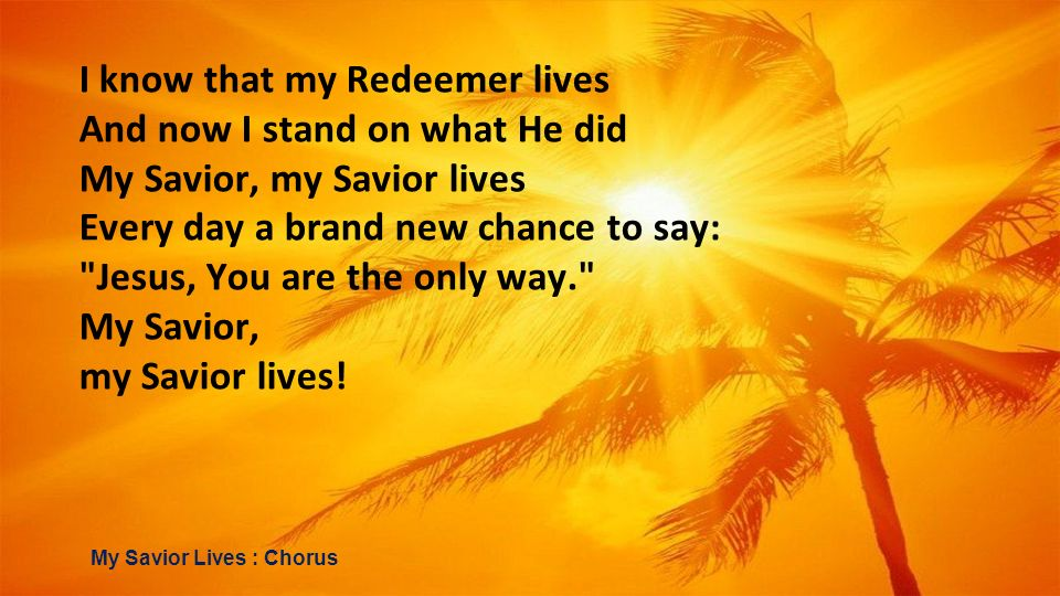 I know that my Redeemer lives And now I stand on what He did My Savior, my Savior lives Every day a brand new chance to say: