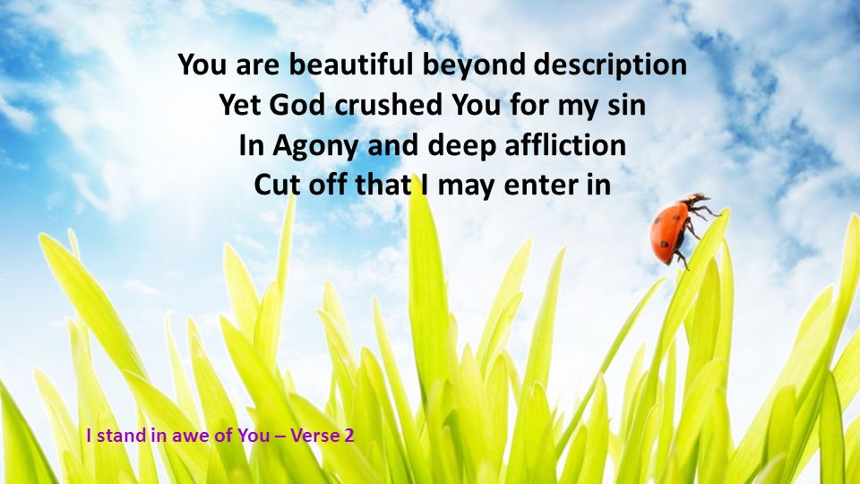 You are beautiful beyond description Yet God crushed You for my sin In Agony and deep affliction Cut off that I may enter in I stand in awe of You – V