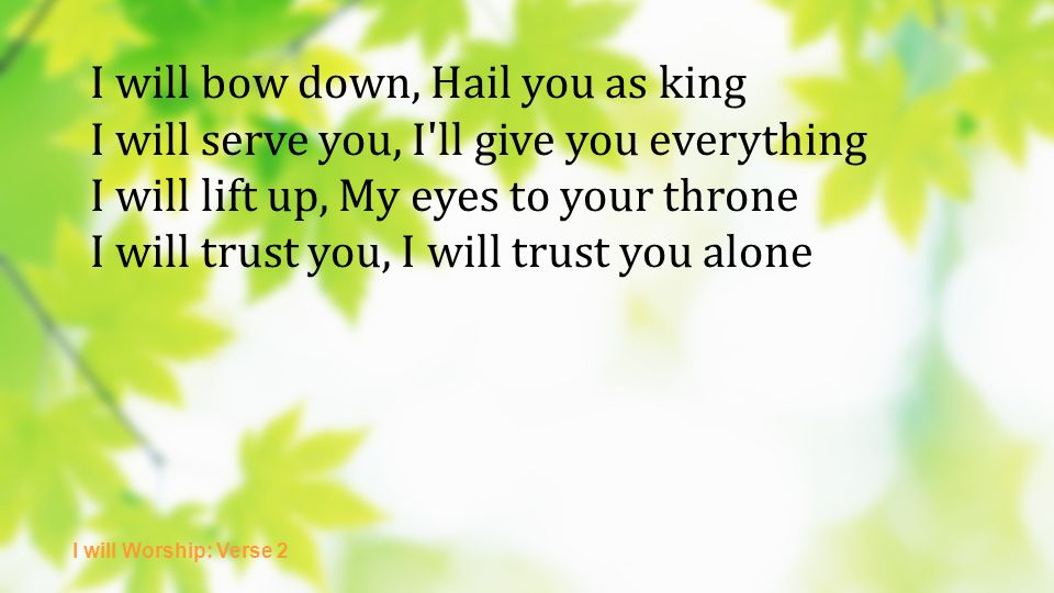 I will bow down, Hail you as king I will serve you, I ll give you everything I will lift up, My eyes to your throne I will trust you, I will trust you alone I will Worship: Verse 2