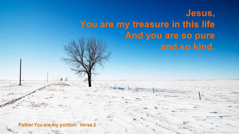 Jesus, You are my treasure in this life And you are so pure and so kind. Father You are my portion: Verse 2