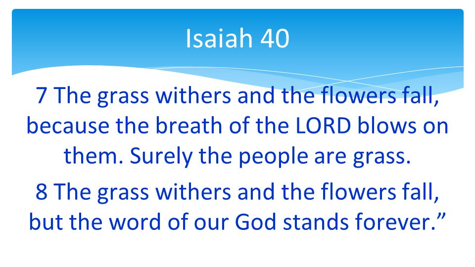 7 The grass withers and the flowers fall, because the breath of the LORD blows on them.