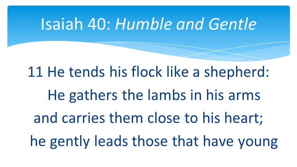 11 He tends his flock like a shepherd: He gathers the lambs in his arms and carries them close to his heart; he gently leads those that have young Isaiah 40: Humble and Gentle