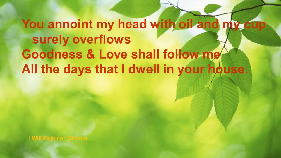 You annoint my head with oil and my cup surely overflows Goodness & Love shall follow me All the days that I dwell in your house. I Will Rejoice: Chor