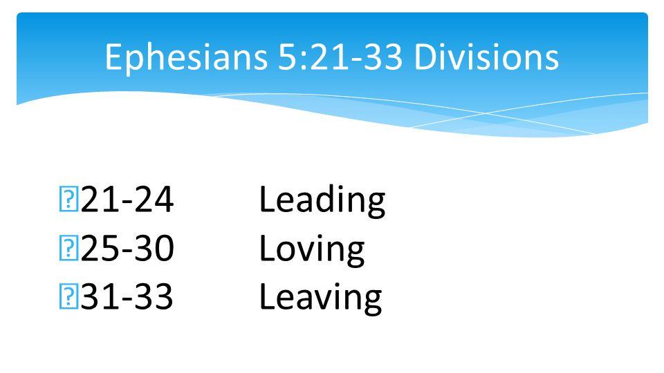 Ephesians 5:21-33 Divisions 21-24Leading 25-30Loving 31-33Leaving