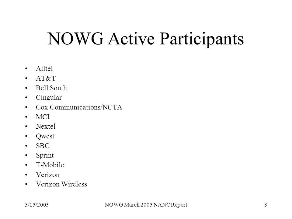 3/15/2005NOWG March 2005 NANC Report3 NOWG Active Participants Alltel AT&T Bell South Cingular Cox Communications/NCTA MCI Nextel Qwest SBC Sprint T-Mobile Verizon Verizon Wireless