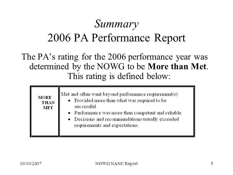 10/10/2007NOWG NANC Report16 Summary 2006 NANPA Performance Report Survey Results Other NANP Resources (Section D) There were 8 questions in this section to which respondents provided ratings that were weighted in the Met range.