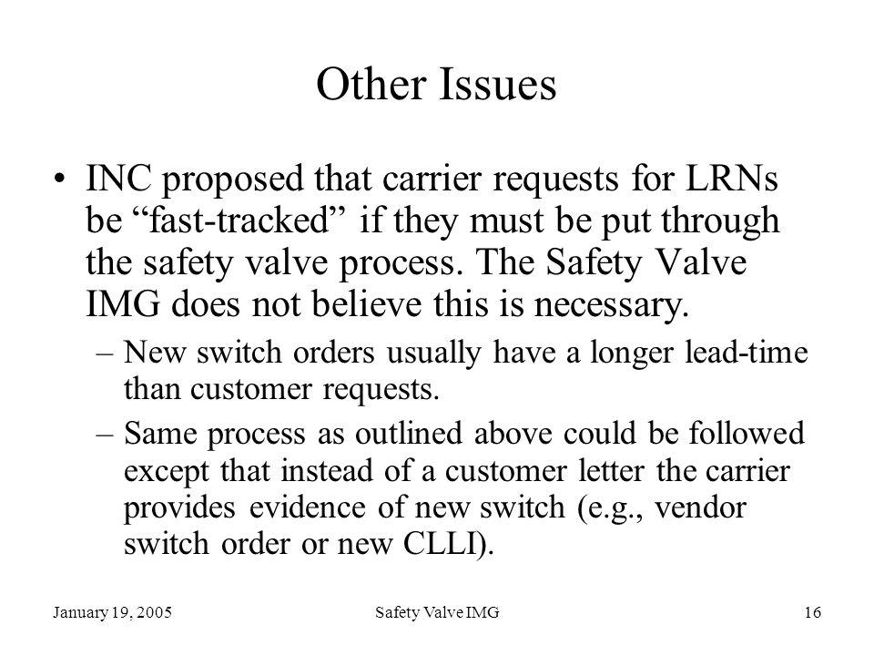 January 19, 2005Safety Valve IMG16 Other Issues INC proposed that carrier requests for LRNs be fast-tracked if they must be put through the safety val