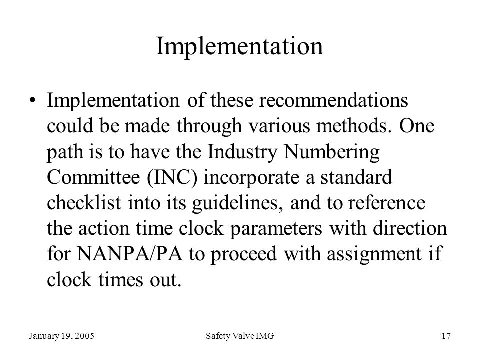 January 19, 2005Safety Valve IMG17 Implementation Implementation of these recommendations could be made through various methods. One path is to have t