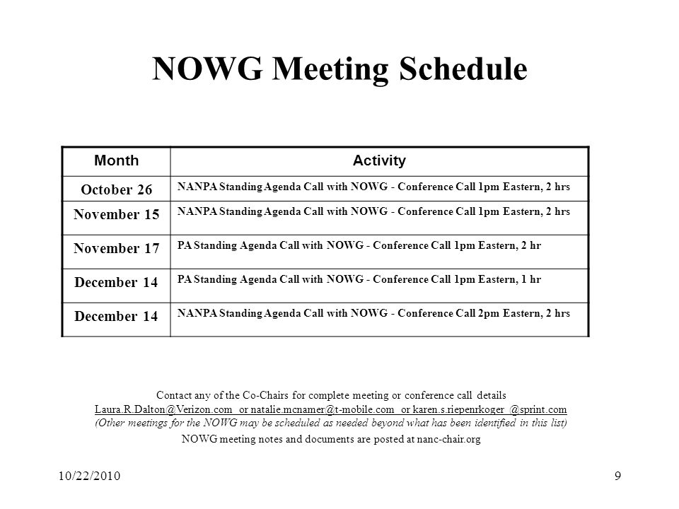 10/22/20109 NOWG Meeting Schedule Contact any of the Co-Chairs for complete meeting or conference call details Laura.R.Dalton@Verizon.com or natalie.m