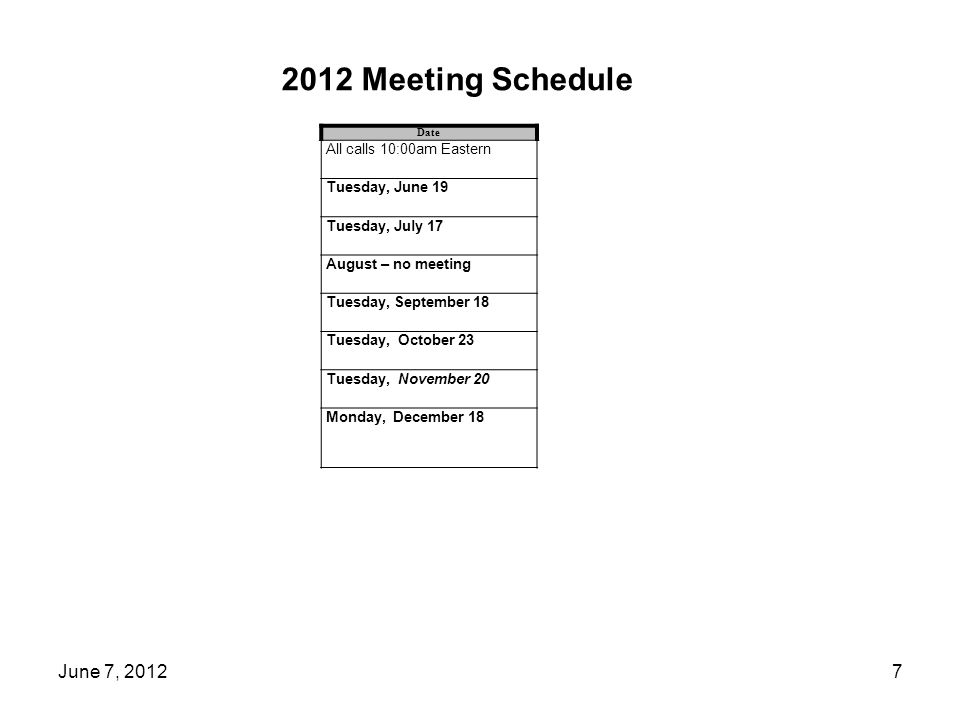 2012 Meeting Schedule Date All calls 10:00am Eastern Tuesday, June 19 Tuesday, July 17 August – no meeting Tuesday, September 18 Tuesday, October 23 Tuesday, November 20 Monday, December 18 7June 7, 2012