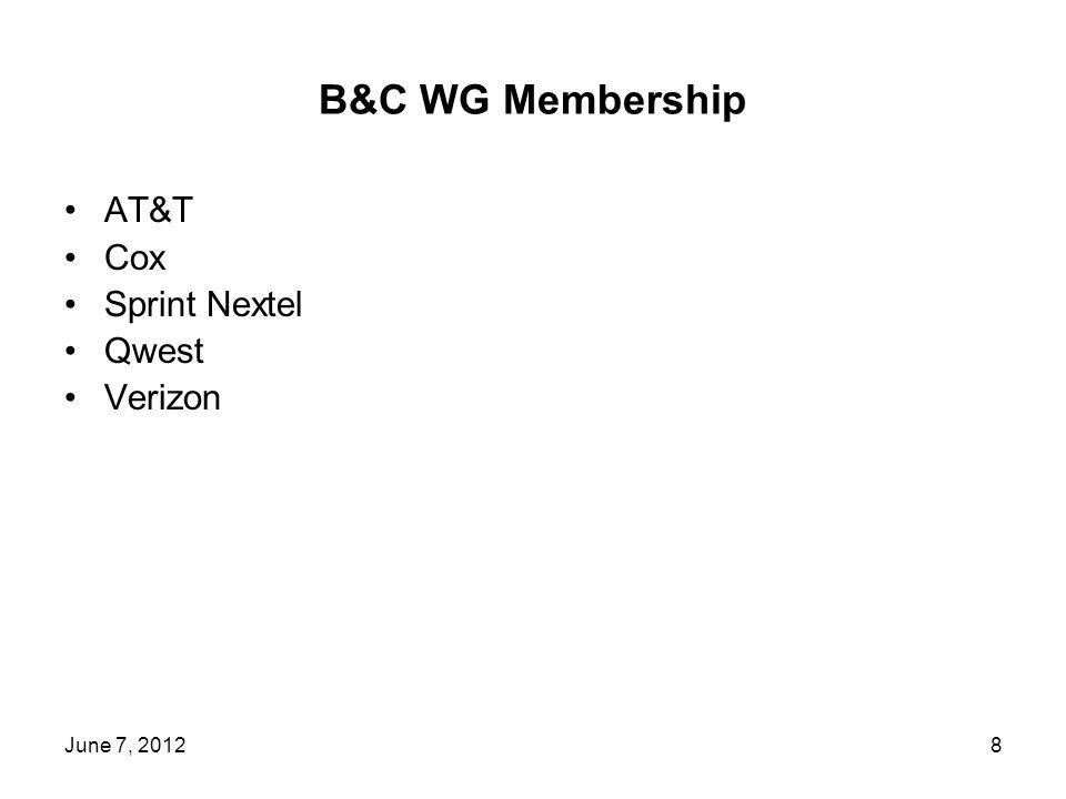 B&C WG Membership AT&T Cox Sprint Nextel Qwest Verizon 8June 7, 2012