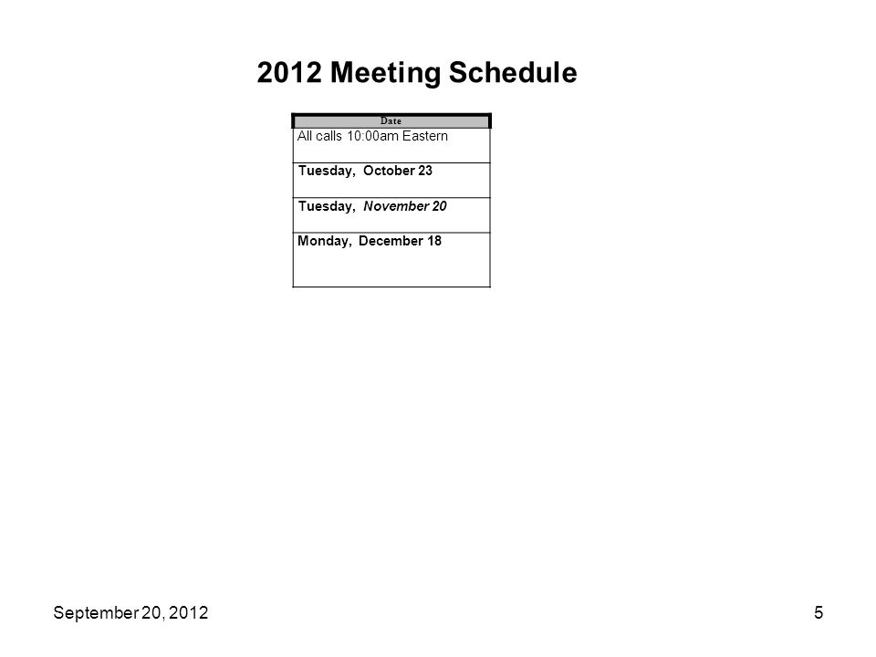 2012 Meeting Schedule Date All calls 10:00am Eastern Tuesday, October 23 Tuesday, November 20 Monday, December 18 5September 20, 2012