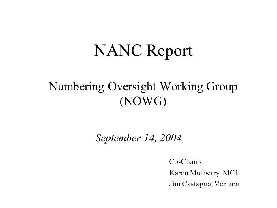 09/14/2004NOWG NANC Report2 Contents Co-Chairs PA Change Order Recommendation NANPA Change Order Recommendation Status New PA Technical Requirements Status NANPA and PA 2004 Performance Surveys 2004 Meeting Schedule Attachments - Tracking Documents -PA/NANPA Change Order Recommendations -PA Change Order Tracking Summary -NANPA Change Order Tracking Summary