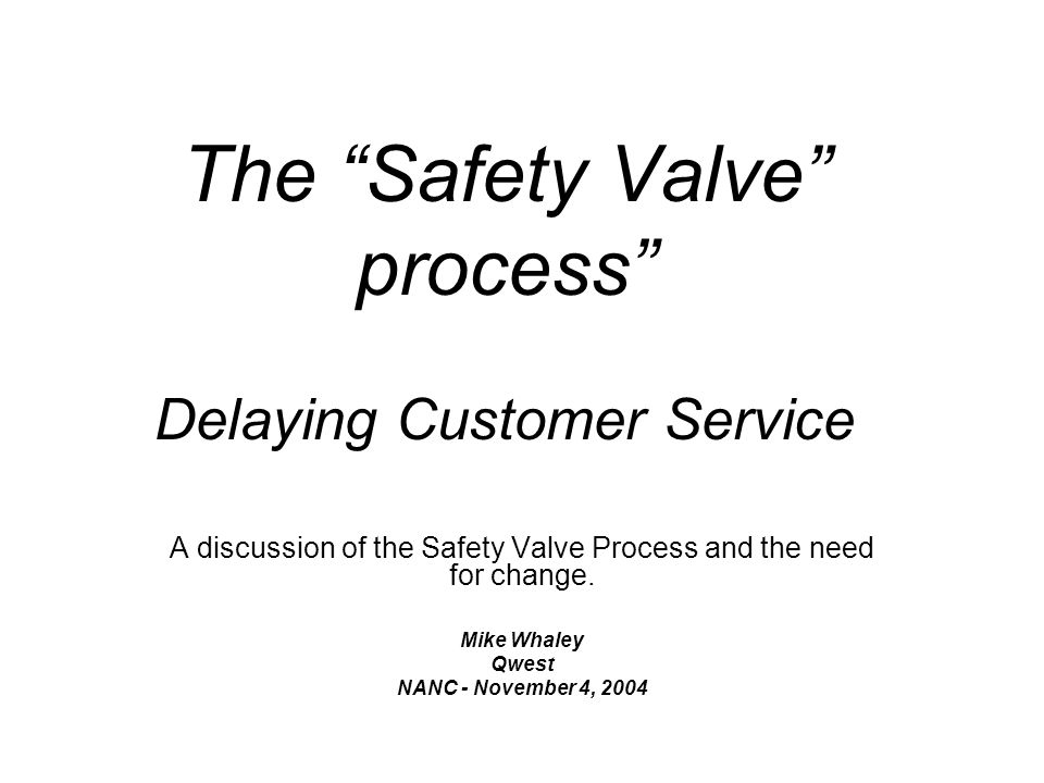 The Safety Valve process Delaying Customer Service A discussion of the Safety Valve Process and the need for change.