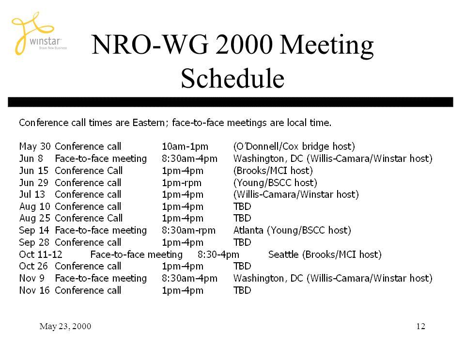 May 23, 200012 NRO-WG 2000 Meeting Schedule