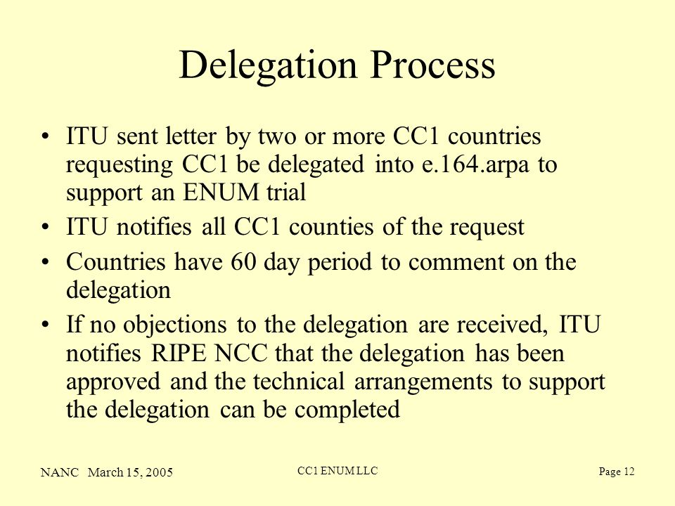 NANC March 15, 2005 CC1 ENUM LLC Page 12 Delegation Process ITU sent letter by two or more CC1 countries requesting CC1 be delegated into e.164.arpa to support an ENUM trial ITU notifies all CC1 counties of the request Countries have 60 day period to comment on the delegation If no objections to the delegation are received, ITU notifies RIPE NCC that the delegation has been approved and the technical arrangements to support the delegation can be completed