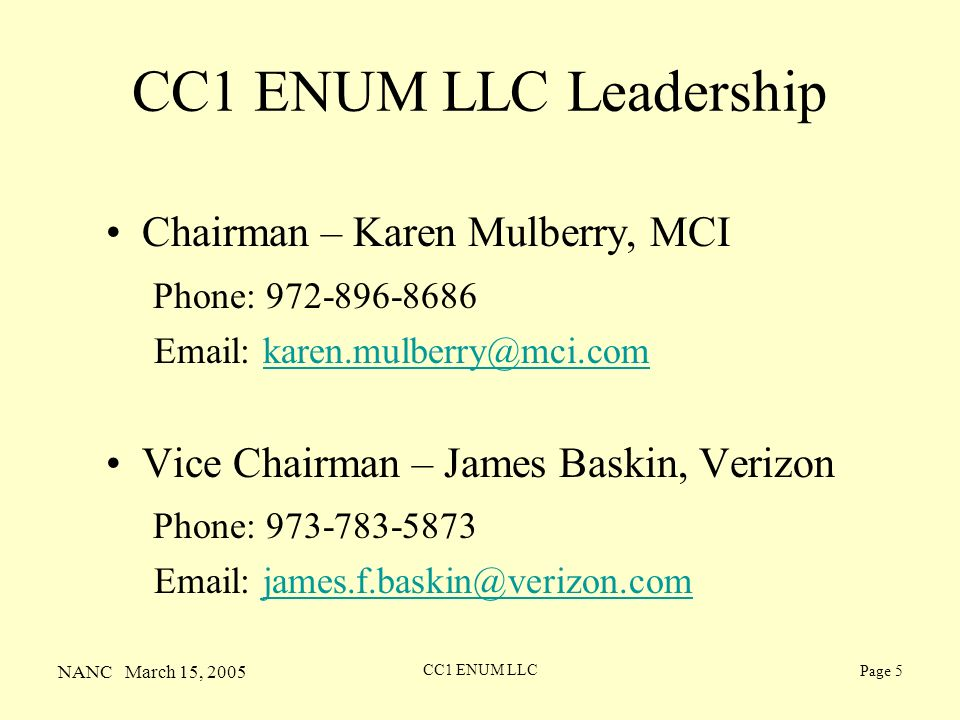 NANC March 15, 2005 CC1 ENUM LLC Page 5 CC1 ENUM LLC Leadership Chairman – Karen Mulberry, MCI Phone: 972-896-8686 Email: karen.mulberry@mci.comkaren.