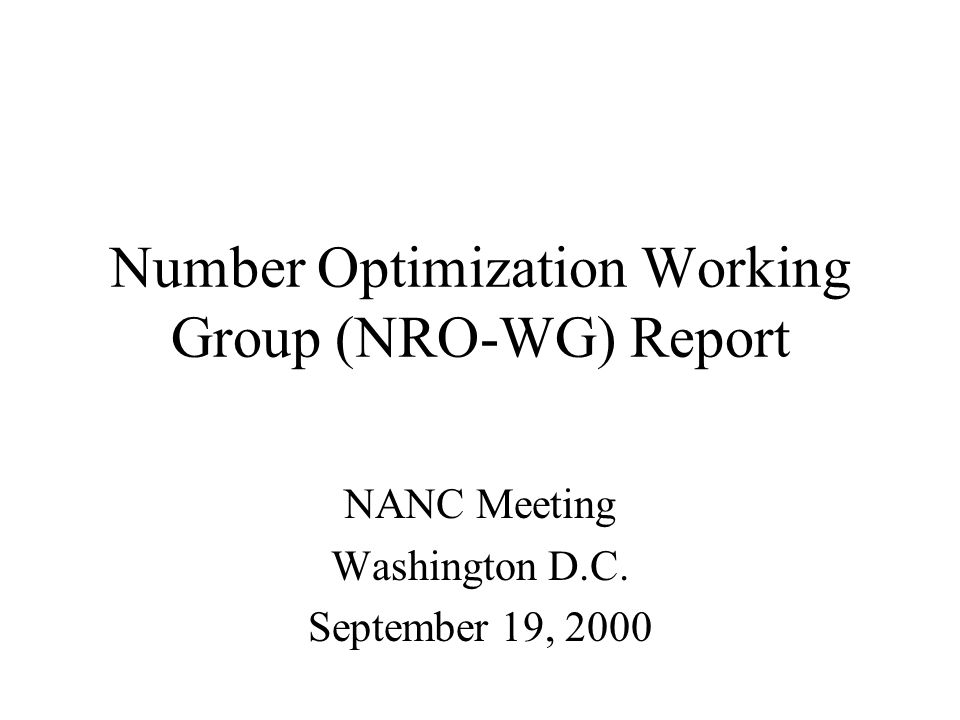 Meetings held since July NANC: August 10, 2000 - Chicago August 25, 2000 - conference call September 6, 2000 - Kansas City September 14, 2000 - conference call Future meetings scheduled: September 28, 2000 - conference call, 1 - 4 PM Eastern (conference bridge 954-797-0718, PIN 982913) October 11 - 13, 2000 - Seattle WA.